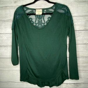 Free People Green Striped Raw Hem Top with Lace